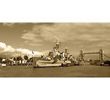 HMS Belfast and London skyline Photographic Print