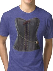 Steampunk Brown Leather Corset Tri-blend T-Shirt