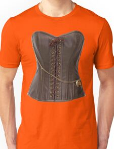 Steampunk Brown Leather Corset Unisex T-Shirt