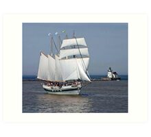 Tall Ship In Cleveland Harbor Art Print