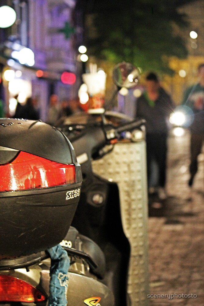 Scooter Closeup Nocturnal Amsterdam by sceneryphotosto
