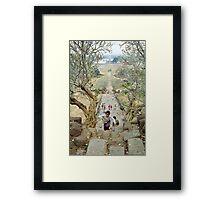 Flower girl on the steps of Wat Phu temple, Laos. Framed Print