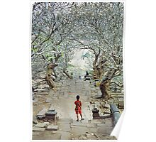 Girl amoungst the trees in Wat Phu, Laos. Poster