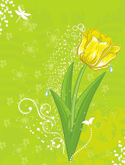 yellow tulip  by torishaa