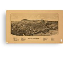 Panoramic Maps Cooperstown NY Canvas Print