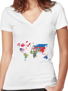 Traveler World Map Flags  Women's Fitted V-Neck T-Shirt