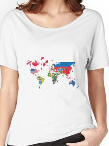 Traveler World Map Flags  Women's Relaxed Fit T-Shirt