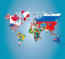 Traveler World Map Flags  by CroDesign