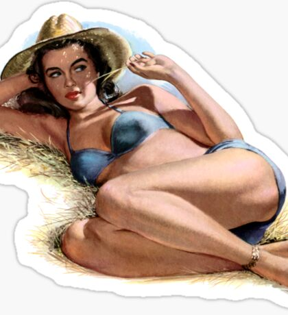 Country Brunette Pinup Girl Sticker