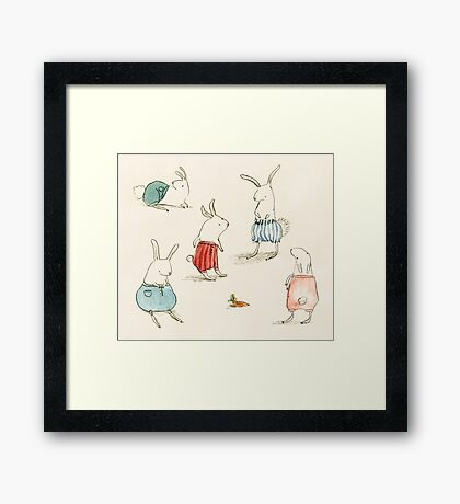 If Rabbits Wore Pants Framed Print