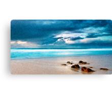 Beach Cloud Rocks Oil Painting Canvas Print