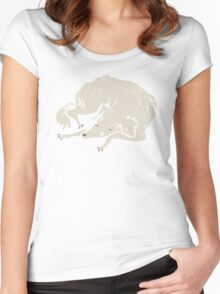 White Dog Sleeping Women's Fitted Scoop T-Shirt