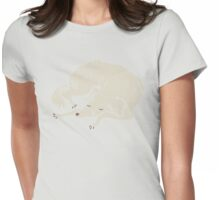 White Dog Sleeping Womens Fitted T-Shirt