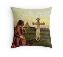 Widow with Child Throw Pillow