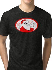 Heavy metal Santa Claus rocks this Xmas! Tri-blend T-Shirt