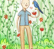 Sir David Attenborough & a Parrot by Sophie Corrigan