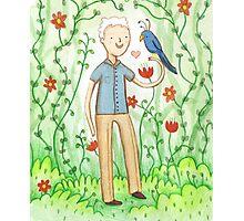 Sir David Attenborough & a Parrot Photographic Print