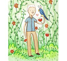 Sir David Attenborough & a Parrot Photographic Print