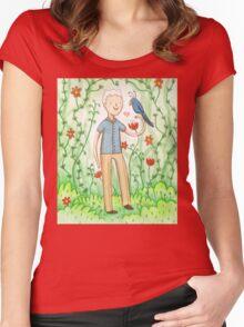 Sir David Attenborough & a Parrot Women's Fitted Scoop T-Shirt