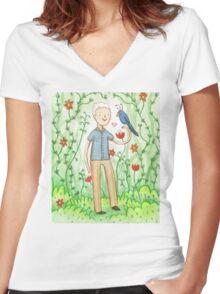 Sir David Attenborough & a Parrot Women's Fitted V-Neck T-Shirt