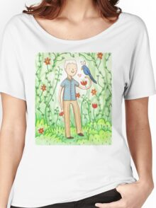 Sir David Attenborough & a Parrot Women's Relaxed Fit T-Shirt