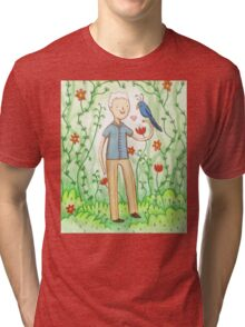 Sir David Attenborough & a Parrot Tri-blend T-Shirt