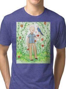 Sir David Attenborough & a Parrot Tri-blend T-Shirt