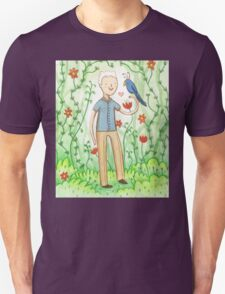 Sir David Attenborough & a Parrot Unisex T-Shirt