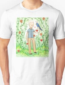Sir David Attenborough & a Parrot Unisex T-Shirt
