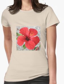 A Stunning Scarlet Hibiscus Tropical Flower Womens Fitted T-Shirt
