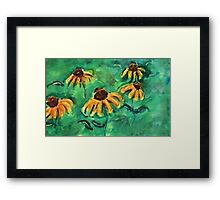 Sunflowers in teal backround, watercolor Framed Print