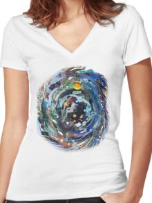 Psychedelic Space  Women's Fitted V-Neck T-Shirt