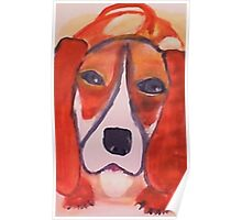 Wanna play ball, I do!  watercolor Poster