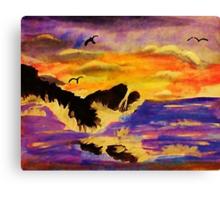 Choppy waters, watercolor Canvas Print