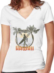 Hawaii surf design Women's Fitted V-Neck T-Shirt