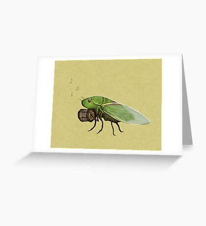 Cicada Playing a Squeezebox Greeting Card