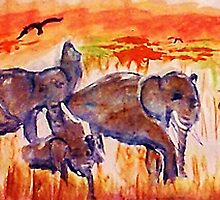 Family is survival, watercolor by Anna  Lewis
