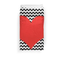 Black and white chevron with Red heart Duvet Cover