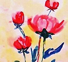 Royal Pink roses. watercolor by Anna  Lewis, blind artist