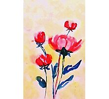 Royal Pink roses. watercolor Photographic Print