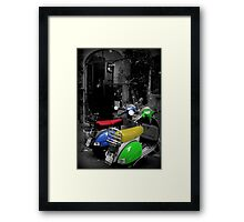 Colored Scooters Framed Print