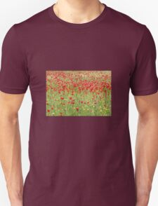 Meadow With Beautiful Bright Red Poppy Flowers Unisex T-Shirt