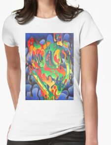 Buxom Nude Woman Splashed With Paint Womens Fitted T-Shirt