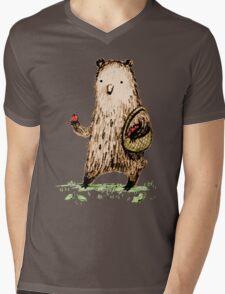 Apple Pickin' Bear Mens V-Neck T-Shirt