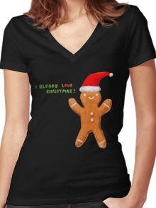 I Bloody Love Christmas! Women's Fitted V-Neck T-Shirt