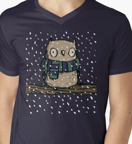 Chilly Owl Mens V-Neck T-Shirt