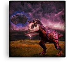 Carnotaurus and UFO Canvas Print