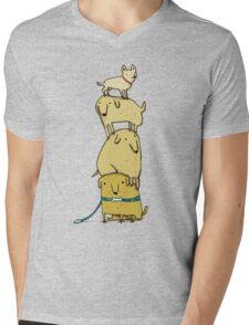 Puppy Totem Mens V-Neck T-Shirt