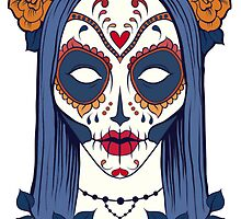 Sugar Skull Girl with roses and blue hair by headpossum