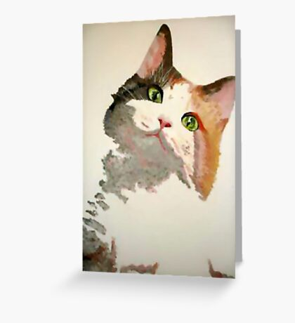 I'm All Ears: A Curious Calico Cat Portrait Greeting Card